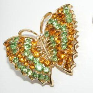 Beautiful Vintage Rhinestone Butterfly Brooch
